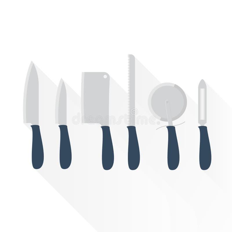 Jogo de facas de cozinha ilustração stock