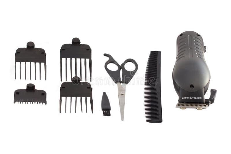 Jogo de ferramenta do barbeiro. fotografia de stock royalty free