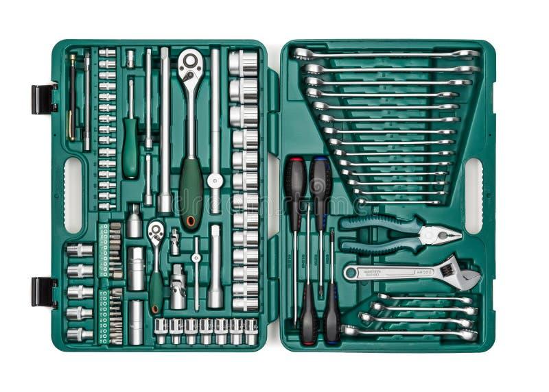 Jogo de ferramentas da mão Muitos puxam e utilizam ferramentas o close-up na caixa para a imagens de stock royalty free
