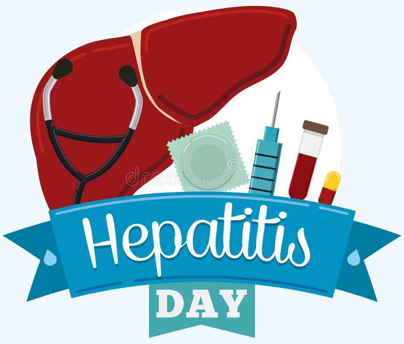 Jogo de ferramentas da prevenção e do controle, comemorando o dia da hepatite, ilustração do vetor ilustração do vetor