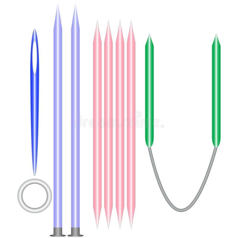 Jogo de ferramentas de confecção de malhas ilustração do vetor