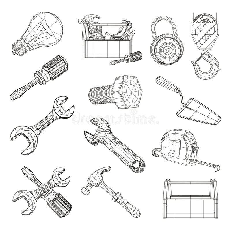 Jogo de ferramentas do desenho ilustração royalty free