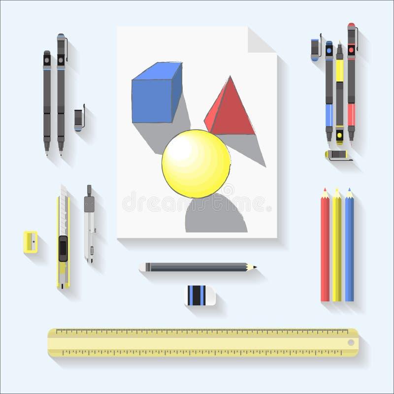 Jogo de ferramentas do desenho grupo geométrico do desenho e de ferramentas no fundo cinzento foto de stock