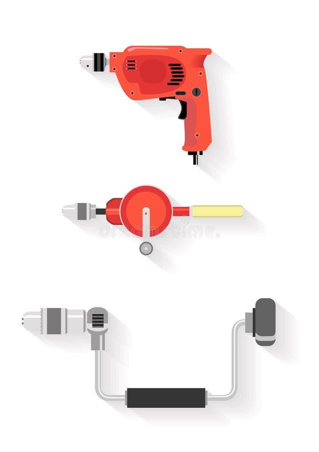 Jogo de ferramentas ferramentas da broca no fundo branco imagem de stock royalty free