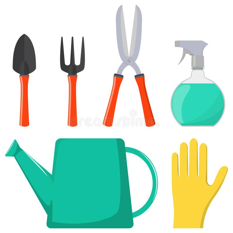 Jogo de ferramentas de jardinagem Lata molhando, arma de pulverizador, luvas, tesoura de podar manual, pá, ancinho Ilustração do  ilustração do vetor