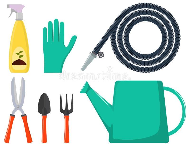 Jogo de ferramentas de jardinagem Lata molhando, mangueira de jardim, arma de pulverizador, luvas, tesoura de podar manual, pá, a ilustração do vetor