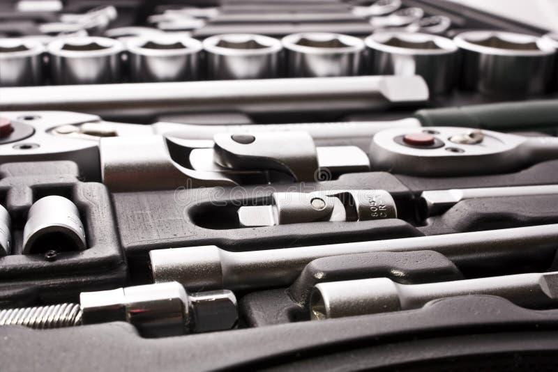 Jogo de ferramentas metálicas imagem de stock