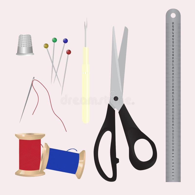 Jogo de ferramentas sewing Uma coleção dos objetos para o bordado e feito a mão ilustração do vetor