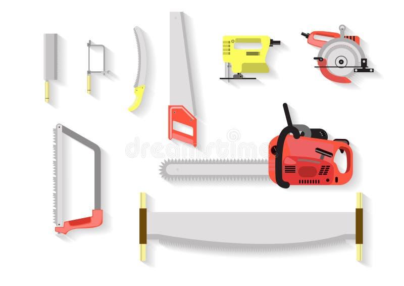 Jogo de ferramentas viu ferramentas no fundo branco fotos de stock