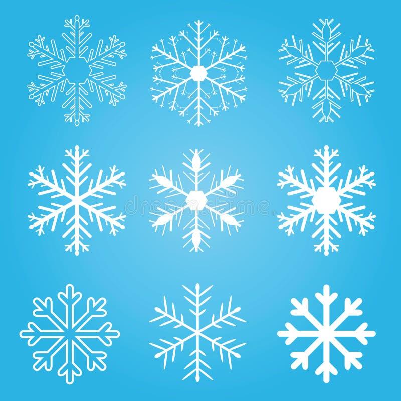 Jogo de flocos da neve do vetor ilustração royalty free