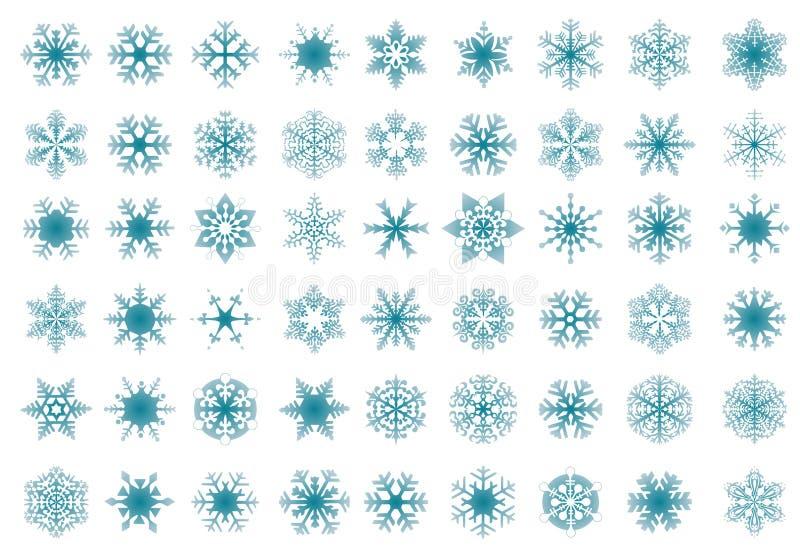 Grupo de flocos de neve azuis ilustração royalty free