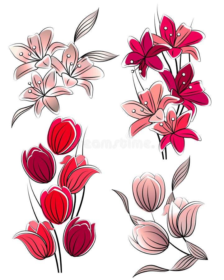 Jogo de flores estilizados ilustração royalty free