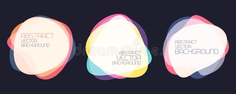 Jogo de formas abstratas As bandeiras coloridas cobrem formas ilustração do vetor