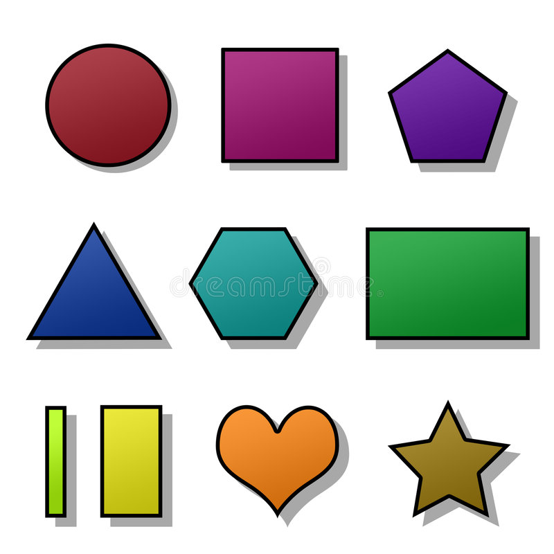 Jogo de formas coloridas isoladas ilustração do vetor