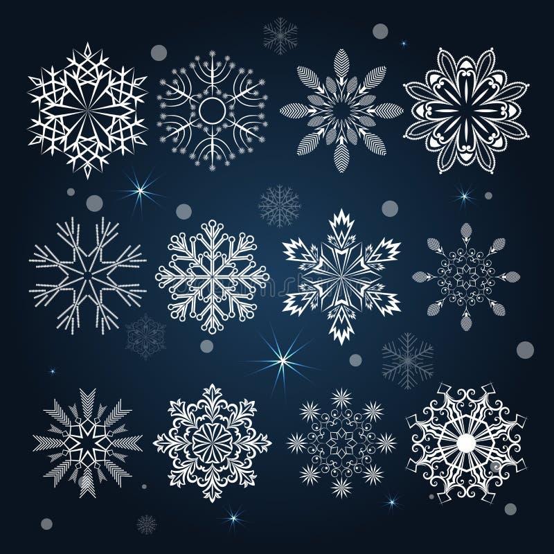 Jogo de formas do floco de neve ilustração stock