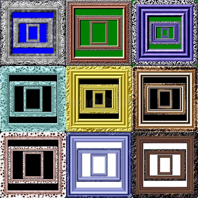 Jogo de frames de retrato ilustração stock