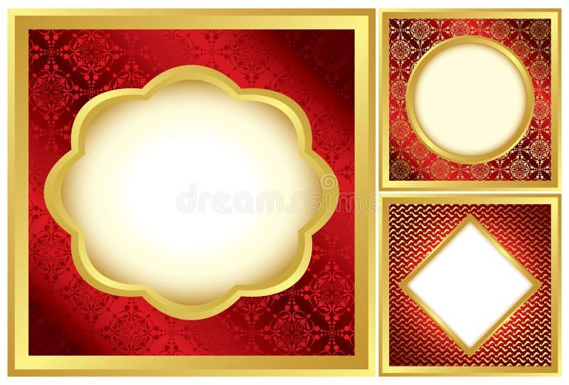 Jogo de frames decorativos vermelhos e dourados ilustração stock
