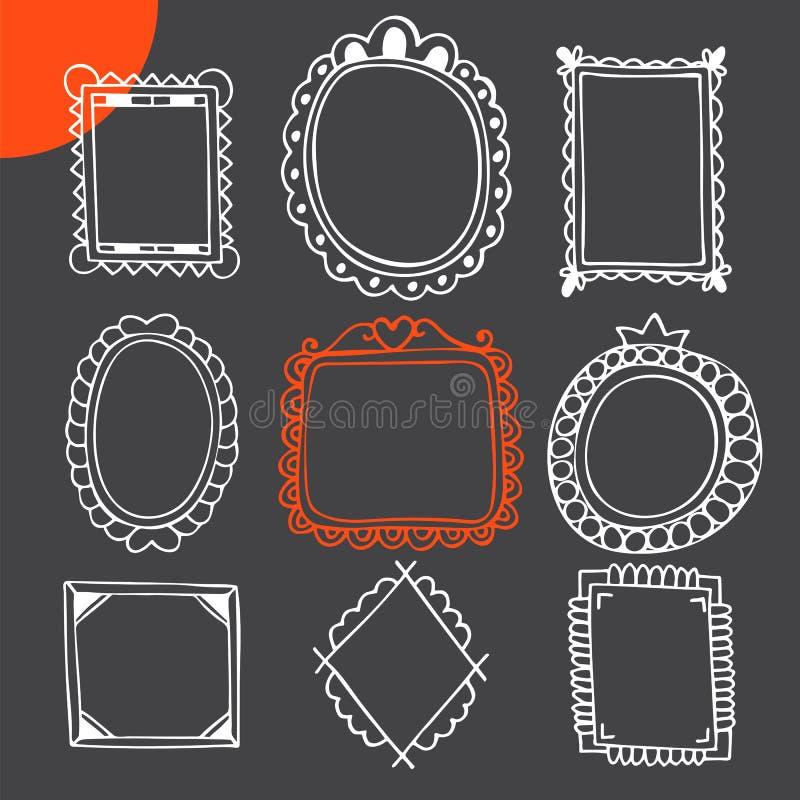 Jogo de frames desenhados mão Quadros da foto do vintage ilustração do vetor