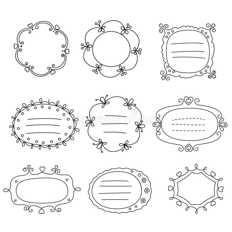 Jogo de frames do doodle ilustração do vetor