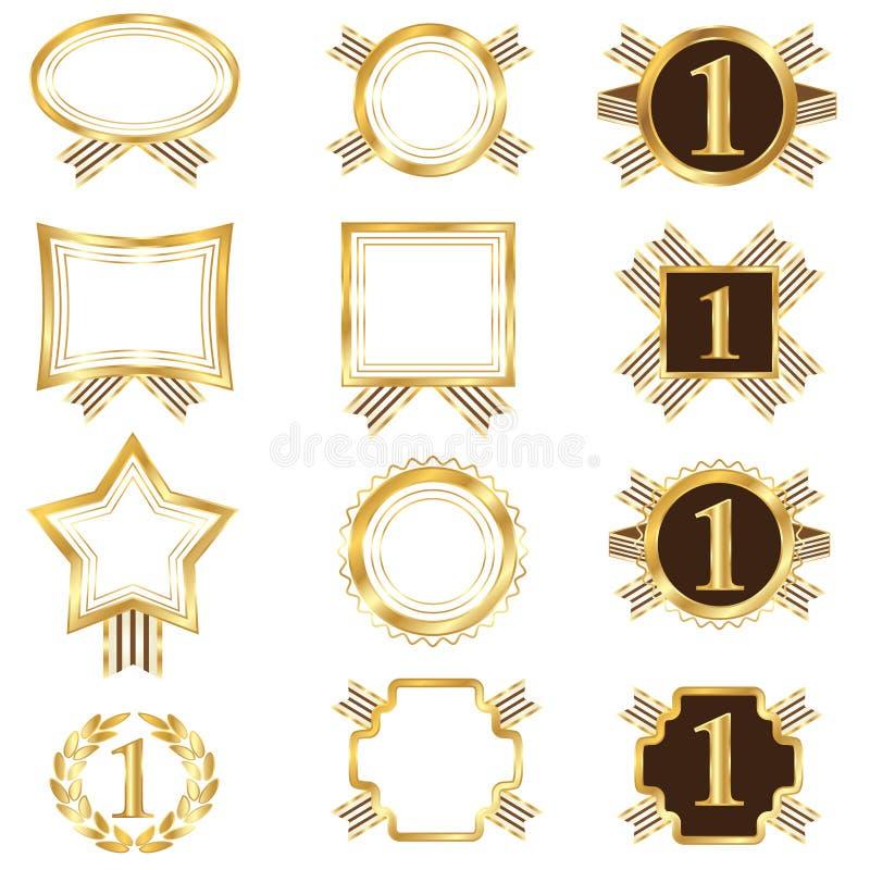 Jogo de frames dourados ilustração royalty free