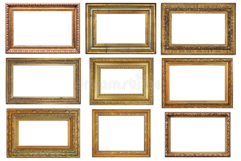 Jogo de frames dourados fotografia de stock