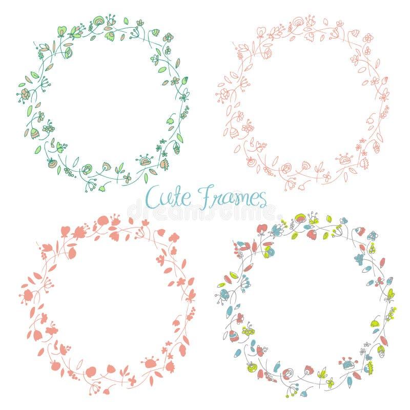 Jogo de frames florais ilustração stock