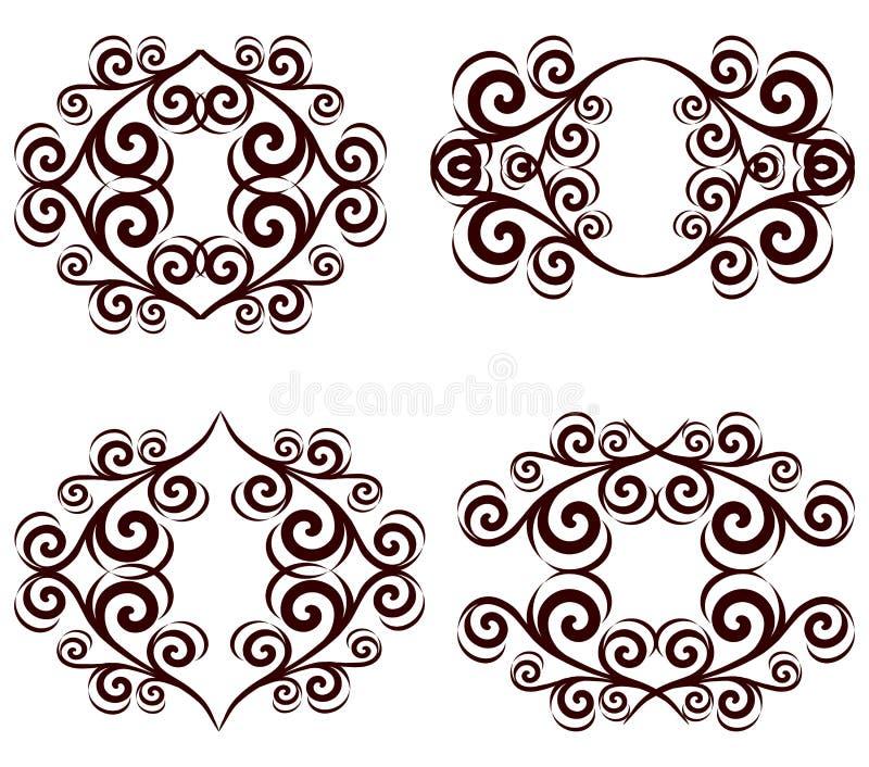 jogo de frames florais ornamentado. ilustração do vetor