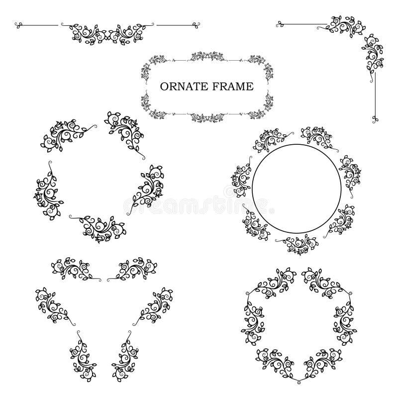 Jogo de frames florais ornamentado Ilustração isolada vetor ilustração stock