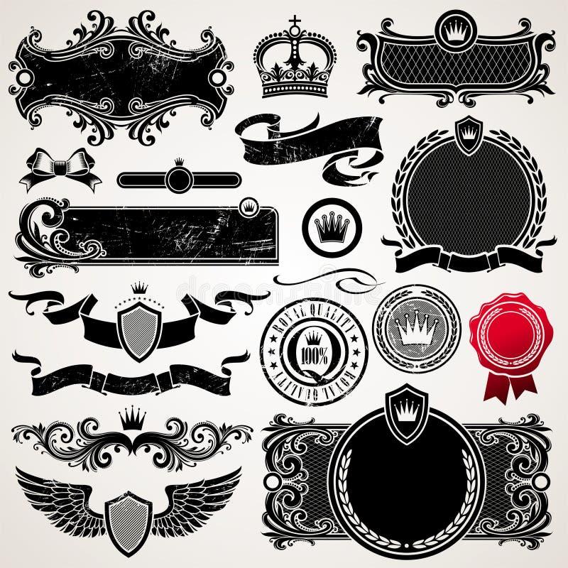 Jogo de frames ornamentado e de elementos ilustração do vetor