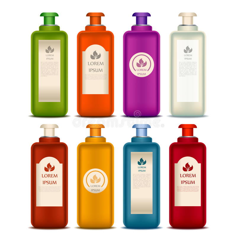 Jogo de frascos cosméticos ilustração stock