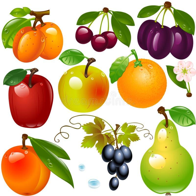 Jogo de frutas diferentes fotografia de stock