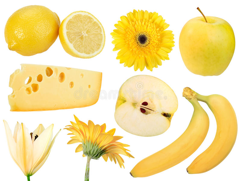 Jogo de frutas, do alimento e de flores amarelos imagens de stock