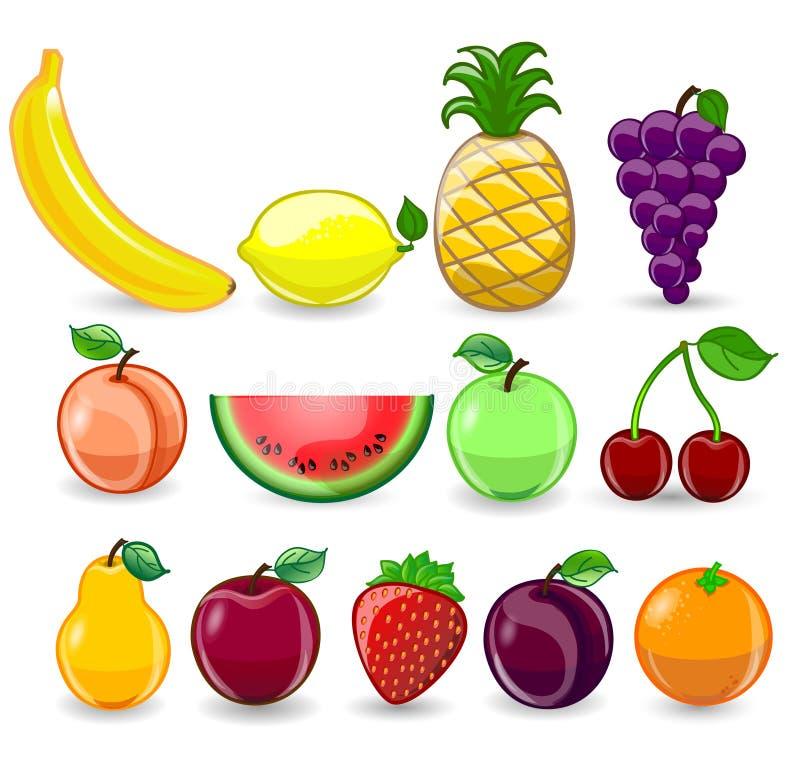 Jogo de frutas dos desenhos animados ilustração stock