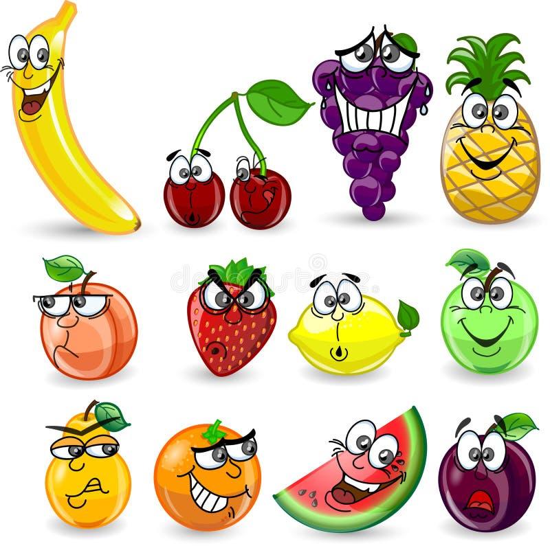 Jogo de frutas dos desenhos animados ilustração do vetor