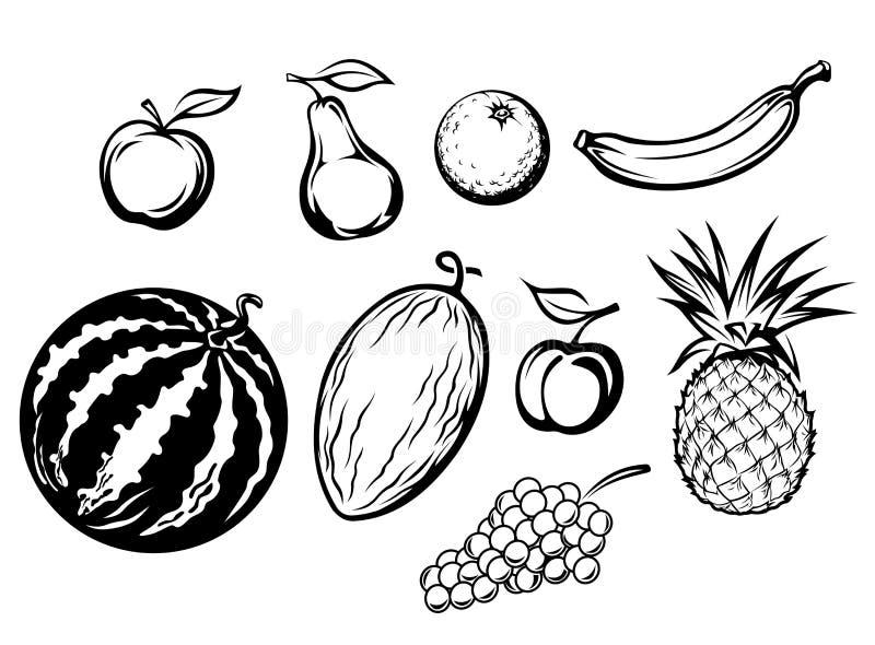 Jogo de frutas frescas isoladas ilustração stock