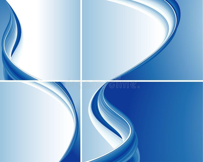 Jogo de fundos abstratos azuis da onda ilustração stock