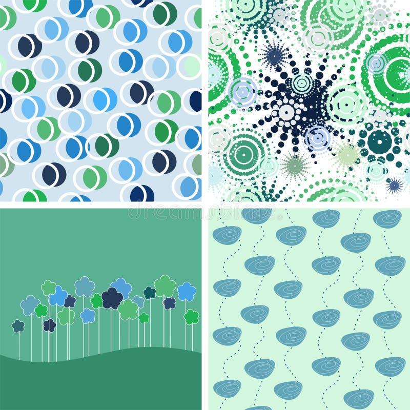 Jogo de fundos abstratos. verde e azul ilustração stock