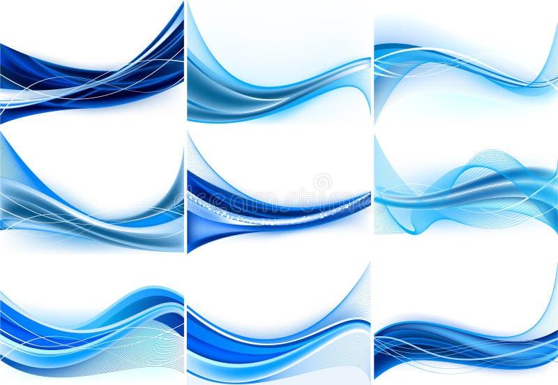 Jogo de fundos azuis abstratos ilustração stock