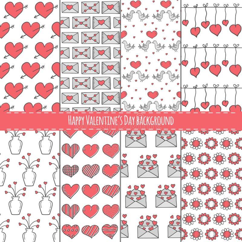 Jogo de fundos do dia do Valentim ilustração royalty free