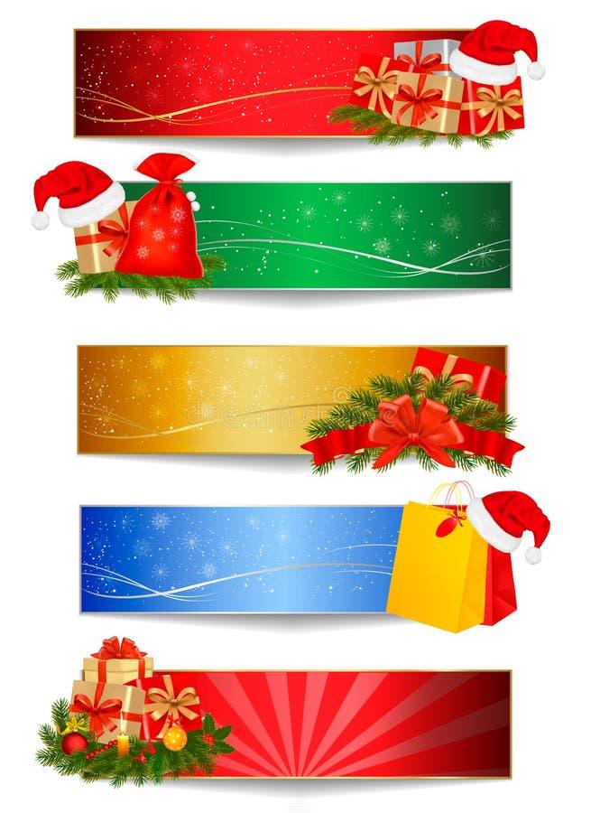 Jogo de fundos do Natal do inverno. Vetor ilustração stock