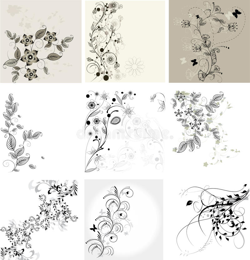 Jogo de fundos florais ilustração stock