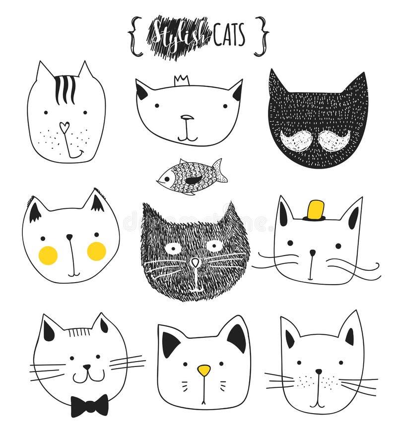 Jogo de gatos bonitos do doodle Gato do esboço Cópia feito a mão do gato ilustração royalty free