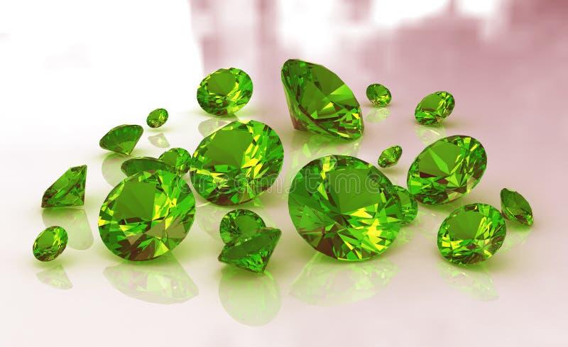 Jogo de gemstones redondos verdes da esmeralda ilustração royalty free