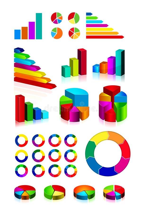 Jogo de gráficos e do diagrama brilhantes ilustração do vetor