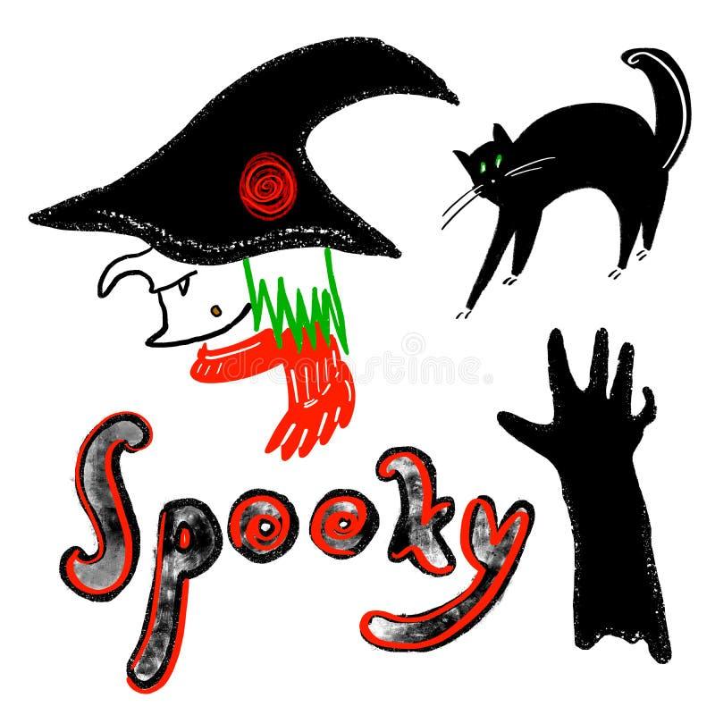 Jogo de Halloween Cabeça em um chapéu, lenço da bruxa Silhueta do gato preto com os arcos dos olhos verdes o seu para trás Mão as ilustração do vetor