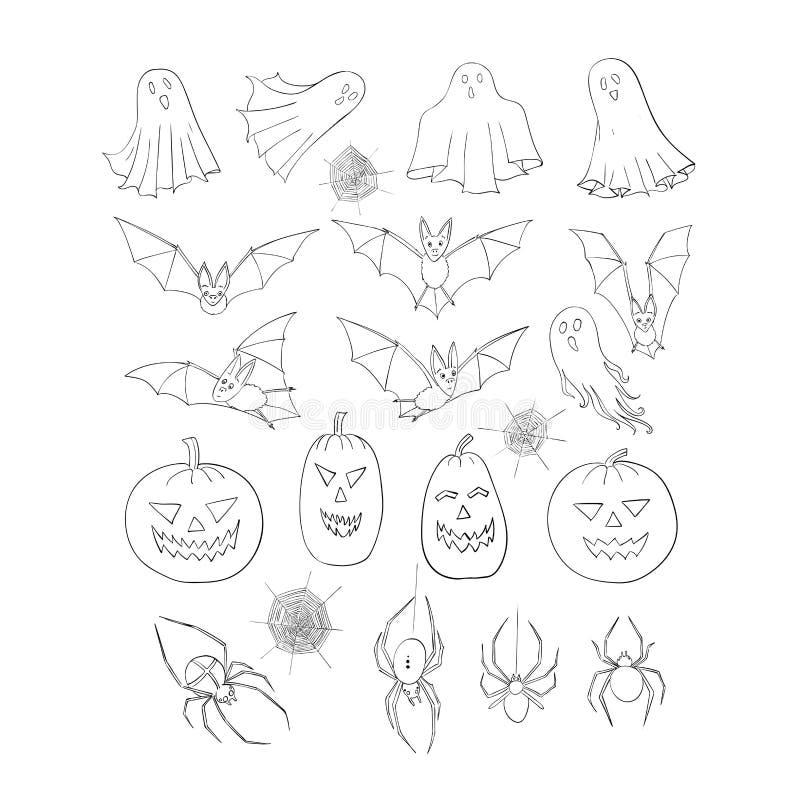 Jogo de Halloween Uma coleção de elementos decorativos Cabeça, bastões, fantasmas e espíritos turbulentos, aranha e teias de aran ilustração stock