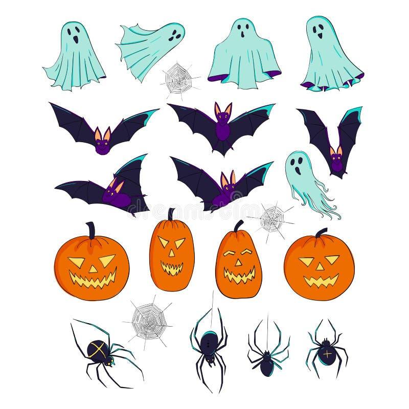 Jogo de Halloween Uma coleção de elementos decorativos Cabeça, bastões, fantasmas e espíritos turbulentos, aranha e teias de aran ilustração royalty free