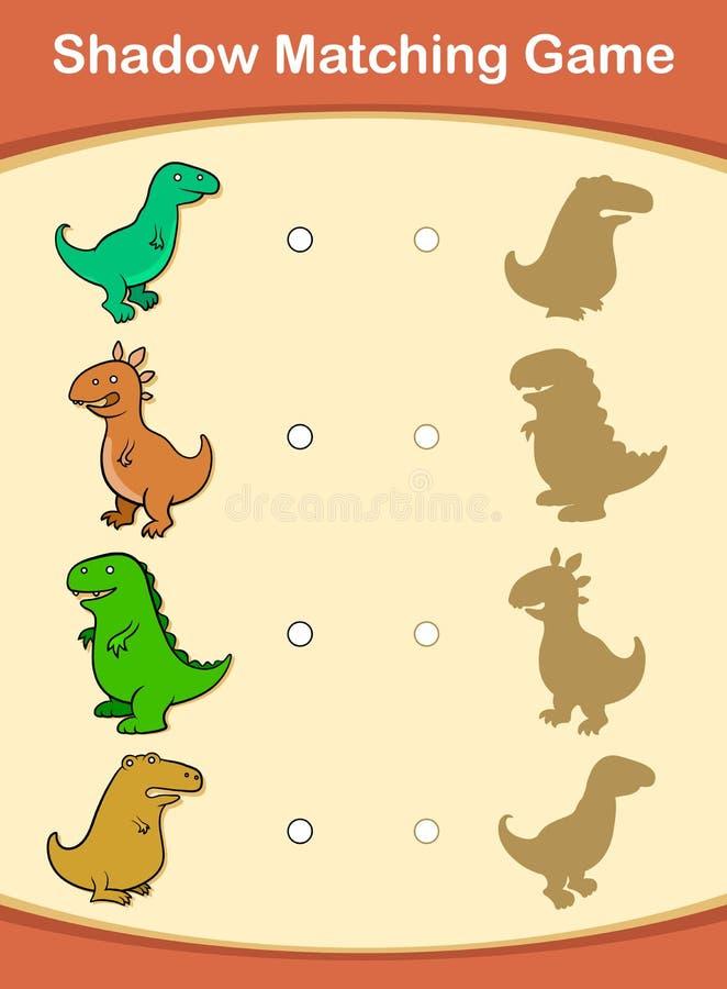 Jogo de harmonização bonito da sombra do dinossauro dos desenhos animados ilustração stock