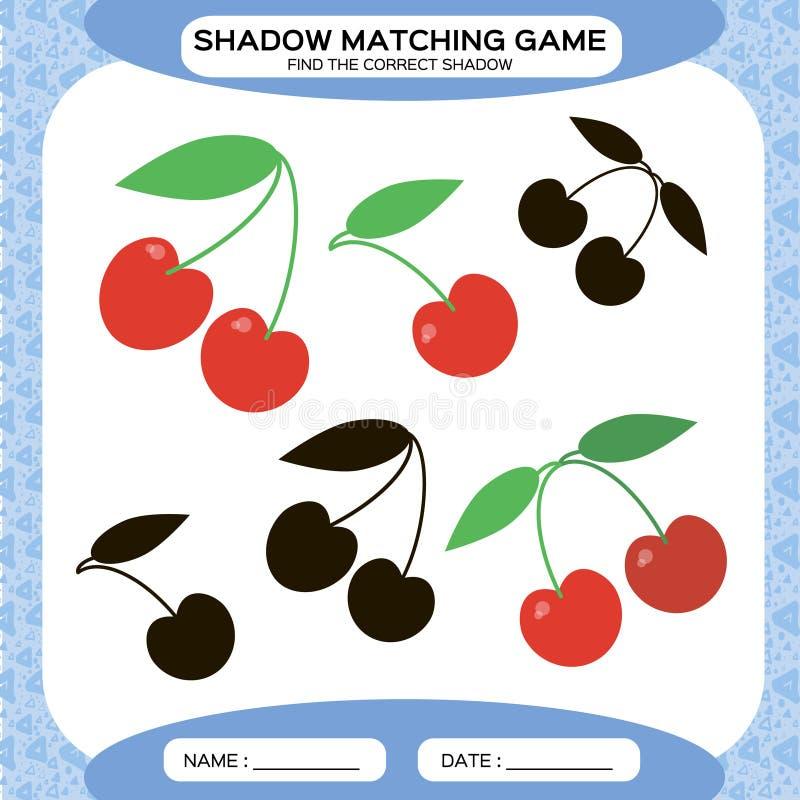 Jogo de harmonização da sombra Encontre as sombras corretas Página da atividade para crianças Folhas do jardim de infância combin ilustração stock