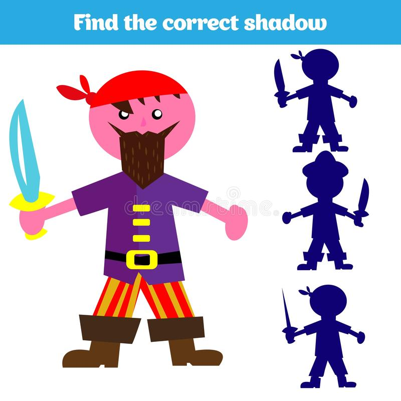 Jogo de harmonização da sombra para crianças Encontre a sombra direita Atividade para crianças prées-escolar Imagens animais para ilustração do vetor